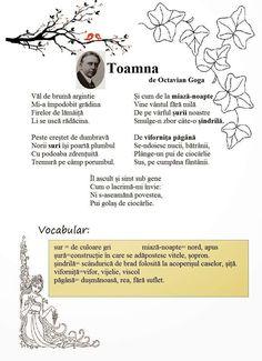 "R: ""Toamna"" de Octavian Goga After School, 4 Kids, Kids Education, Crafts, Autumn, Self, Home, Mists, Literatura"