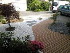 jardin minral compos dune alle en bois exotique et de dalles en ardoise - Dalle D Ardoise Jardin