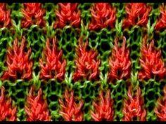 Como Tejer Flores de Fuego 2a.Parte Fire Flowers 2 Agujas(268)
