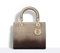 """lady dior"" bag in gold-tone and ebony graded metallic calfskin - Dior"