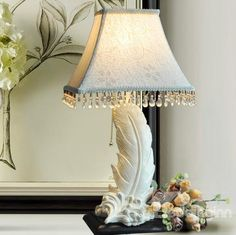 New Arrival Beautiful White Feather Style Resin Table Lamp  @bedding inn