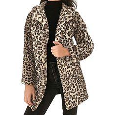 cba5934a7115 JIANGfu Fashion Women Autumn Winner Warm Leopard Print Warm Faux Fur Coat  Outwear Ladies Casual Turn-Down Collar Jacket Overcoat