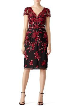 cba016b8418 Red Floral Embroidered Sheath