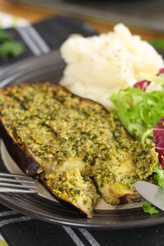 Pesto crusted eggplant - juicy inside, crispy on top, and so easy to make!