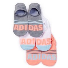 adidas Adistripe Super No Show Socks - Pack of 3 ($11) ❤ liked on Polyvore featuring intimates, hosiery, socks, multi, sweat wicking socks, wicking socks, moisture wicking socks, adidas and adidas socks
