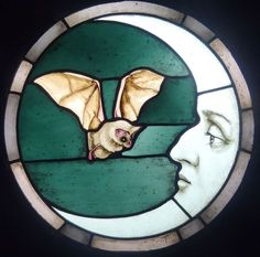 A free hanging stained glass panel depicting a bat hovering near a disinterested moon. Hanging Stained Glass, Stained Glass Art, Stained Glass Tattoo, L'art Du Vitrail, Goth Home, Gothic Home Decor, Gothic Art, Sea Glass Art, Glass Vase