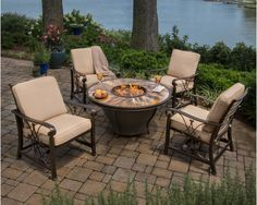Moonlight Firetable with Aluminum Chairs