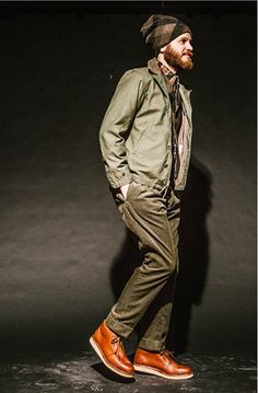 Engineered Garments AW14 Look, I am really feeling the Deck jacket style bomber and olive pant combo! It works super well with the boots.