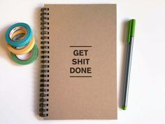 Writing journal, spiral notebook, cute diary, small sketchbook, scrapbook, memory book, 5x8 journal - Get shit done, to do list
