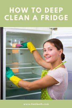How to deep clean fridge inside and out. The best way to clean and remove the smell or odor from your refrigerator with baking soda. Tips and hacks for cleaning shelves, door, and the inside and outside of your fridge.  Easy way to clean refrigerators.  #fridge #cleaning #hacks #tips #refrigerator