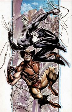 """Spider-Man vs Wolverine // pencil, inks and colors by Yildiray Cinar a.a *Cinar Artist Comment: """"A recent commission done with markers on bristol board"""" """" more comics here Black Spiderman, Spiderman Art, Amazing Spiderman, Batman And Superman, Comic Book Characters, Marvel Characters, Comic Character, Comic Books Art, Comic Art"""