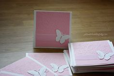 Could make these with different colored squares to fit wedding theme.  Butterfly invitation  pink and white  by YellowBirdWedding on Etsy, $3.50
