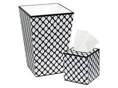 Trash Can Trash Bin Wastebasket  Tissue Box Cover Bathroom Sets Black and White Fence Design >>> Click image for more details.