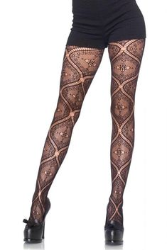 Nouveau Vine Lace Pantyhose, Nylon and spandex. These patterned stockings will suit the office or roller derby - versatility in a wardrobe is priceless! Cute Stockings, Stockings And Suspenders, Stockings Legs, Pantyhose Outfits, Pantyhose Heels, Cool Tights, Full Support Bras, Patterned Tights, Metallic Tights