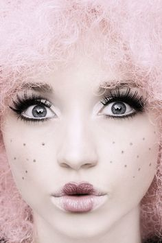 2014 delicate Halloween pink hair doll makeup - face painting of toys #2014 #Halloween