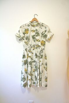 1950s dress / botanical print dress / Woodland by nocarnations