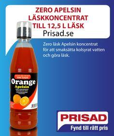 Zero läsk Apelsin koncentrat för att smaksätta kolsyrat vatten och göra läsk.