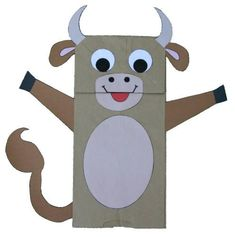 Cow Paper Bag Puppet for There's A Cow in the Cabbage Patch or any farm/barn book.