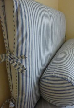 slipcovers-ideas- great way to change a headboard with little money! Headboard Cover, Bookcase Headboard, Slipcovered Headboard, Slipcovers, Headboards For Beds, Decoration, Home Projects, Diy Furniture, Diy Home Decor