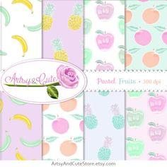 Fruits Digital Paper Set Pastel Fruits Banana by ArtsyAndCuteStore #fruits #digital #paper #pineapple #banana #apple
