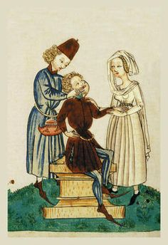 Medieval Dental Practitioner. How sweet, it looks like the patient's wife is holding his hand to reassure him.