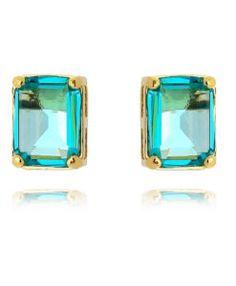 2af0b6f4579 brinco dourado semi joia com pedra agua marinha Brincos Grandes