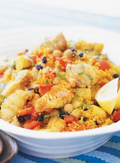 Tunisian Style Couscous With Fish The Daily Meal - If Youre Craving Couscous And Want A New Spin On Your Go To Recipe Try This Tunisian One That Incorporates Fish You Wont Be Disappointed This Recipe Is Courtesy Of Ricardo Cuisine And W Fish Recipes, Meat Recipes, Seafood Recipes, Healthy Recipes, Seafood Dishes, Main Course Dishes, Main Dishes, Tunisian Food, Tunisian Recipe