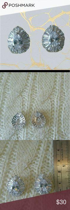 🍐Pear/baguette cz cluster earrings Pear cluster earrings. Silver tone metal. Cz. Worn once. none Jewelry Earrings