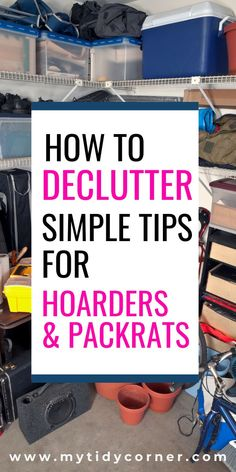 declutter Discover simple decluttering tips for hoarders and packrats. These are practical ideas to help you declutter your home and make it clutter free and organized even when it's full o Declutter Home, Declutter Your Life, Organizing Your Home, Organising, Clutter Organization, Home Organization Hacks, Kitchen Organization, Organization Ideas, Small Bedroom Organization