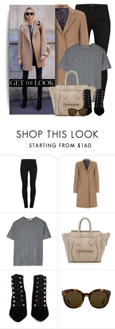 """""""Camel Coat"""" by monmondefou ❤ liked on Polyvore featuring J Brand, Paul Smith, T By Alexander Wang, CÉLINE, Balenciaga, Linda Farrow, GetTheLook, black, brown and camel"""
