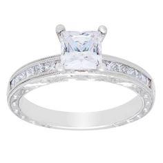 18k Gold 3/8ct TDW Princess Cubic Zirconia Engagement Ring
