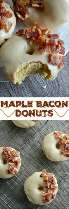 These Maple Bacon Donuts have to be one of the best flavor combinations ever!, Desserts, These Maple Bacon Donuts have to be one of the best flavor combinations ever! Brown sugar and sour cream baked donuts with a pure maple syrup glaze th. Köstliche Desserts, Delicious Desserts, Yummy Food, Maple Dessert Recipes, Health Desserts, Fancy Desserts, Maple Bacon Donut, Maple Bacon Cupcakes, Homemade Donuts