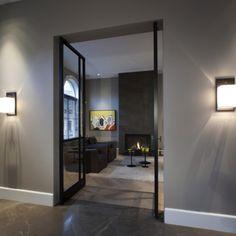 Living Room Interior, Home Living Room, Living Room Decor, Flooring For Stairs, Interior And Exterior, Interior Design, House Doors, Contemporary Decor, Decoration