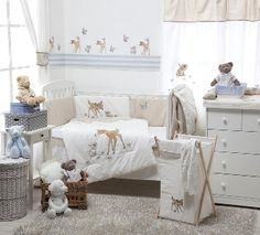 Why didnt I find this when I was looking for baby bedding?!   Disney Dearest Bambi 4 Piece Cotton Baby Crib Bedding Set