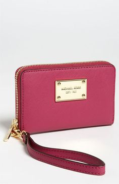 MICHAEL Michael Kors Saffiano Phone Wristlet   Nordstrom...love this to carry my phone and credit card