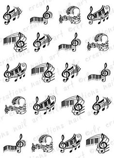 20 Piano Keys And Music Notes Assortment Water Slide Nail Art Decals Music Nail