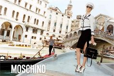 Moschino Fall 2011 campaign features Russian model, Irina Kulikova to joins their Fall 2011 as the model. Irina sports Moschino Fall 2011 military-chic inspired, in navy blue and white. Photographed by Juergen Teller, the campaign takes Venice, Italy as their backdrop.