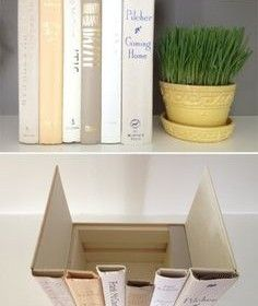 Make a book box to hide storage on your shelf -- such as your internet router...