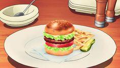 Marian makes Kon a hamburger and fries, Ixion Saga DT, Episode 10.
