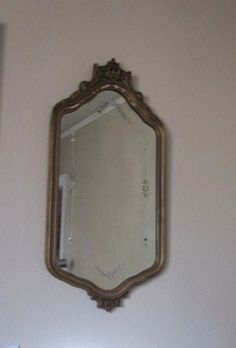 Vintage Art Deco Round Wall Mirror With Etched Design And