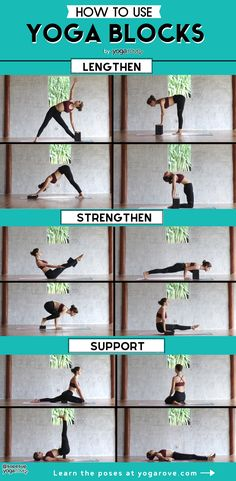 Here is the best infographic that will teach you how to use yoga blocks. As a beginner it is essential to use yoga blocks when you practice your flows at home. Not only will they help you in a pose but they will deepen your practice . I Love Yoga Yin Yoga, Yoga Meditation, Yoga Restaurativa, Diy Yoga Mat, Kundalini Yoga, Vinyasa Yoga, Bikram Yoga Poses, Pilates Yoga, Pilates Reformer