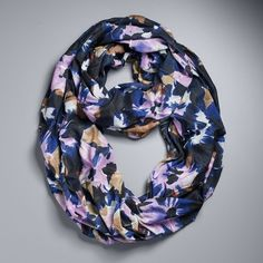 Simply Vera Vera Wang Floral Jersey Pleated Infinity Scarf ($22) ❤ liked on Polyvore featuring accessories, scarves, purple oth, infinity loop scarves, floral infinity scarves, floral print infinity scarf, loop scarf and floral infinity scarf