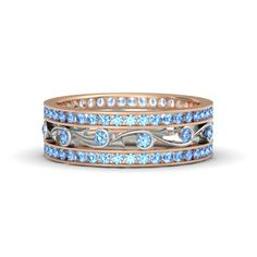 18K Rose Gold Ring with Blue Topaz - Sea Spray Band
