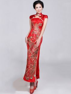 Red Ankle-length Brocade Phoenix Cheongsam / Qipao / Chinese Wedding Dress