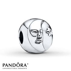 Night and Day are depicted on either side of this sterling silver clip from the Holiday 2013 collection by Pandora. A sleeping moon, accented by a star with a clear cubic zirconia center, is depicted on one side, while a wide-awake sun adorns the other. Style # 791208CZ.