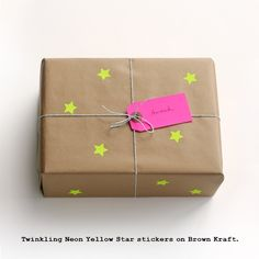 small star stickers on brown paper