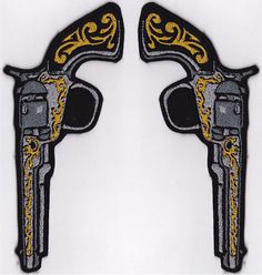 Pair of Six Shooters Left & Right by RustedRocketPatches on Etsy