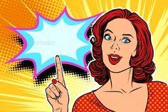 pop art woman pointing finger up retro vector illustration