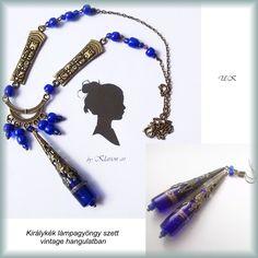 Királykék, aranyfüstös lámpagyöngy nyakék és fülbevaló bronz kiegészítökkel