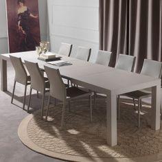 Fusion-Tavolo moderno in legno allungabile color tortora chiaro